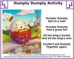humpty dumpty nursery rhyme mother goose activities