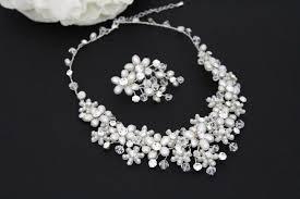 swarovski necklace set images Pearl bridal necklace set crystal wedding jewelry freshwater jpg