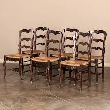 Antique Oak Ladder Back Chairs Set Of Six Ladderback Rush Seat Country French Dining Chairs