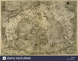 Italian Map Map Of Greek Island Of Corfu Ionian Sea Italian Map 1537 Stock