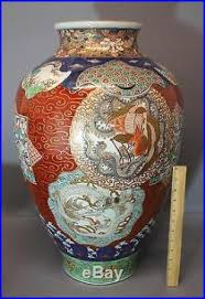 Antique Hand Painted Vases Large 25in Tall Antique Hand Painted Chinese Imari Porcelain White