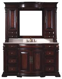 bathroom vanity u0026 mirror hutch in dark cherry traditional bathroom