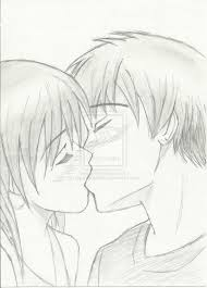 easy people kissing to draw