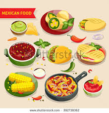 set cuisine food set traditional mexico cuisine เวกเตอร สต อก 392738362