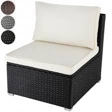 canape de jardin fauteuil canapé de jardin noir résine tressée avec coussin mdj01016