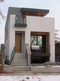 second floor modern house entrance design with white iron stairs