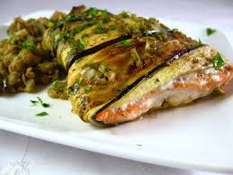cara s cravings eggplant wrapped salmon with pomegranate