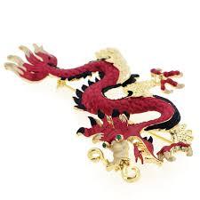 ruby red chinese dragon swarovski crystal pin brooch fantasyard
