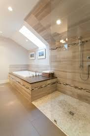 shower accent tile bathroom craftsman with angled ceiling bathtub
