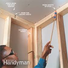How To Sheetrock A Ceiling by How To Install Drywall Family Handyman