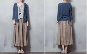 pattern for simple long skirt ladies hemp cotton long skirt fashion simple skirt for women custom
