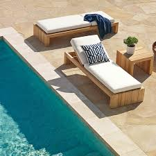 Teak Chaise Lounge Chairs Larnaca Outdoor Teak Chaise Williams Sonoma