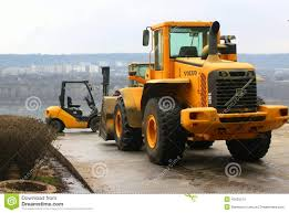 bulldozer and forklift volvo editorial image image 40655515