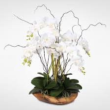 silk orchids real touch 5 stem phalaenopsis silk orchids in a teak bowl