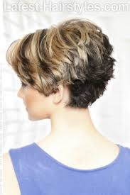 side view of blended wedge haircut short hairstyle with heavy texture back since there is no choice