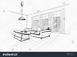 living room interior sketch stock vector 214080775 shutterstock