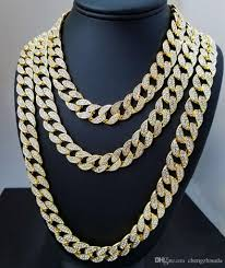 crystal chain link necklace images 2018 iced out bling rhinestone crystal goldgen finish miami cuban jpg