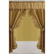 Walmart Mainstays Curtains Mainstays Double Swag Shower Curtain Gold Walmart Com