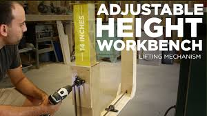 Woodworking Bench Height by Mike Makes An Adjustable Height Workbench Lifting Mechanism