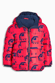 red truck print padded jacket 3mths 6yrs from the next uk