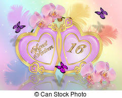 stock illustrations of sweet 16 birthday card illustration