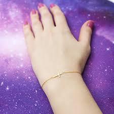 14k yellow gold sideways cross adjustable bracelet 7 7 5