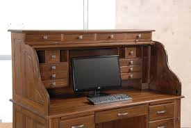 Secretarys Desk by Professors Walnut Roll Top Desk Countryside Amish Furniture