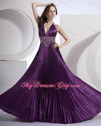 halter a line beading bodice purple prom dress with brush train