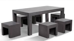 designer gartenmã bel beliani gartenmöbel aus beton tisch mit sechs stühlen