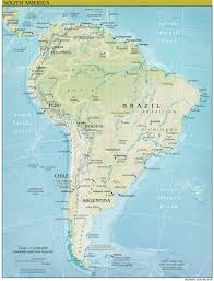 Blank South American Map by South America Continent Physical Map U2022 Mapsof Net