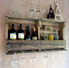 34 wood liquor shelf distressed hardwood and stainless cable