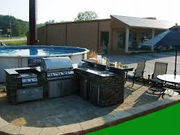 simple outdoor kitchen ideas wood grained powder coated stainless image of simple outdoor kitchen ideas design near swimming pool