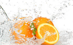 orange fruits and splashing water wallpapers