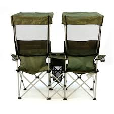 Portable Armchair Folding Chair For Two With Individual Canopies