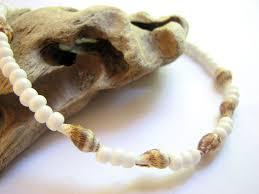 white bead bracelet images White beaded sea shell ankle bracelet beach bride anklet bits jpg