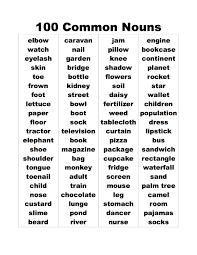 common nouns list