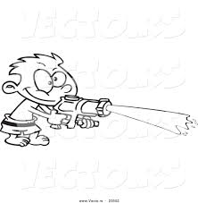 cartoon vector of cartoon boy spraying a soaker gun coloring