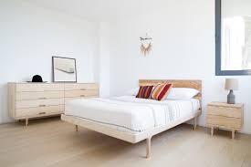 White Ash Bedroom Furniture Simple Bed Modern Platform Bed With Brass Feet Kalon Studios Us