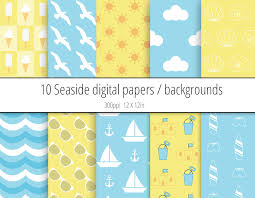 themed paper seaside digital paper pack backgrounds peculiar printables