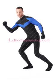 Nightwing Halloween Costume Cheap Black Blue Lycra Stage Show Spandex Cosplay Costumes