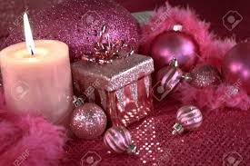 Lighted Christmas Decorations by Festive Pink Christmas Decorations On Pink Table Cloth With