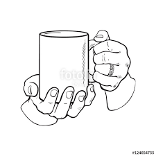 well groomed female hand holding a cup with tea or coffee sketch