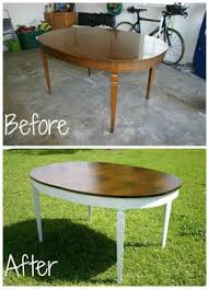 Refinish Dining Room Table Before And After White Base - Refinish dining room table