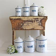 Vintage Kitchen Canisters Sets by Vintage Enamel Canister Set