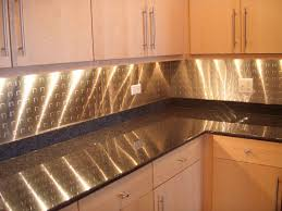 interior beautiful metal backsplash dark kitchen cabinets cozy