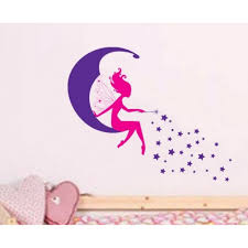moon fairy and stars wall sticker baby girls art for moon fairy and stars wall sticker baby girls art for nursery room cute wallpaper home decors gjm