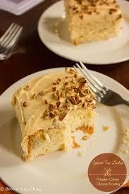 spiced tres leches cake w pumpkin cream cheese frosting brown sugar
