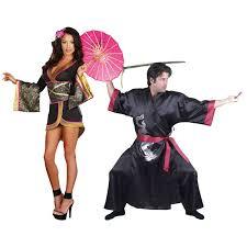 Warriors Halloween Costume Red Japanese Doll Samurai Warrior Couples Costume Image