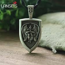 aliexpress men necklace images Lanseis 1pcs men necklace archangel st michael protect me saint jpg