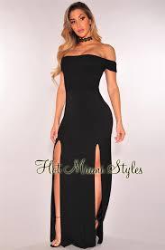 black smocked off shoulder double slit maxi dress